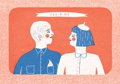 You & Me risograph print by illustrator Louise Lockhart available to buy on http://www.theprintedpeanut.co.uk