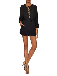 3/4 Sleeve Lace Up Romper by Lucca Couture at Gilt