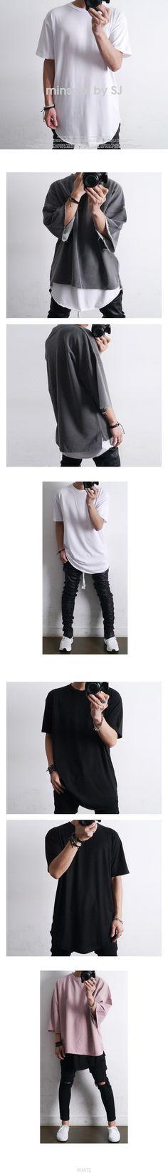 【minsobi by SJ】モード系/ストリート系。【あす楽】【2016年新作】3色 レイヤード用 ロング丈 カットソー 半袖 カットソー メンズ Tシャツ 半袖 メンズ 7分袖 カットソー メンズ ダメージゆるTシャツ メンズ トップス ヴィメンズ tシャツ tシャツ メンズ トップス 10P06May14