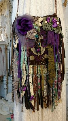 Handmade Gypsy Embroidered Fringe Bag Vintage Lace Jewelry Hippie Purse tmyers #Handmade #MessengerCrossBody