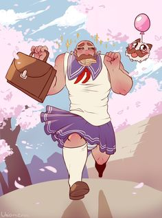 school girl braum!!! hahah so cute. league of legends skin concept, fan art