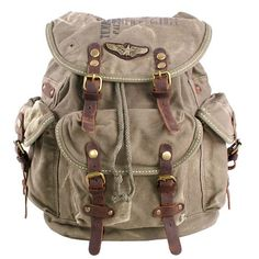 Features:  Made from rugged cotton canvas and leather;  Top drawstring flap closure;  Two exterior side pocket and two front pocket scure with buckle leather strap.  Military green;  Size: W40cm, H45CM, D18cm.