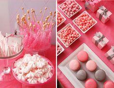 Buffet en color rosa para fiesta de 15 años