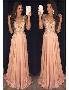 Charming Prom Dress,V Neck Chiffon Prom Dress ,Long