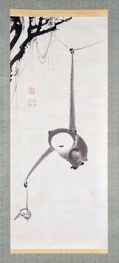 Two Gibbons Reaching for the Moon. 伊藤若冲 Itō Jakuchū. 1770. Japanese hanging scroll. Edo period. Kimbell Art Museum.