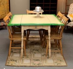Vintage Green & Yellow Enamel Top Table and Five Antique Arrow-Back Plank Seat Chairs (SOLD) Luxury Furniture Brands, Kitchen Fittings, Table, Furniture Casters, Vintage Kitchen, Vintage Green, Kitchen Redecorating, Vintage Kitchen Table, Green Dining Room