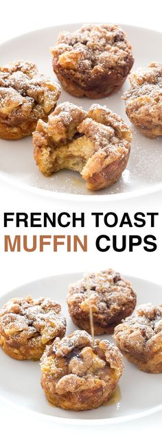 French Toast Muffin Cups make the perfect breakfast on the go. They are soft and fluffy on the inside with a crunchy streusel topping!  |chefsavvy.com #breakfest #food #delicious #eat #muffins #recipe #ideas