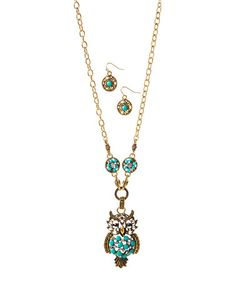 Look at this #zulilyfind! Austrian Crystal & Simulated Turquoise Owl Necklace & Earrings #zulilyfinds
