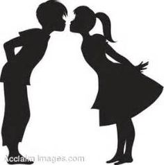 Clipart Illustration of a Boy and Girl Kissing