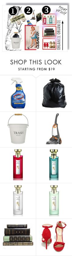 """1-2-3 staps to declutter"" by yemuller ❤ liked on Polyvore featuring interior, interiors, interior design, home, home decor, interior decorating, Redecker, InterDesign, Par Avion Tea and Bulgari"