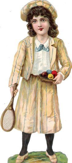 Oblaten Glanzbild scrap die cut chromo Kind child 24cm Ball Tennis Raphael Tuck