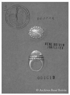 René Boivin 2005 Bague chevalière de dame bombée, ornée d'un cabochon de