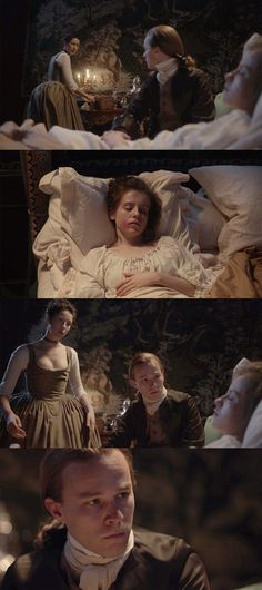 of a person in bedclothes in a scene with a person who is dressed. In this case, the vulnerability couldn't be more obvious, and the fact that she woke to a fully dressed man over her – which would instantly make her feel very exposed and vulnerable (and which makes Claire look rather dim for leaving her that way) – is what set her off on the path of ruining the dinner party.