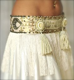 Perfectly Beautiful Belly Dance belt beaded sequined in cream and gold. $130.00, via Etsy.