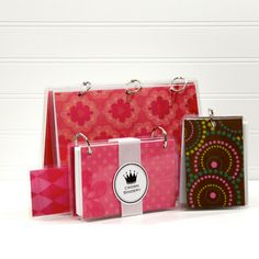 Three Ring Journal Notebook Binder Set, Pinks and Chocolates