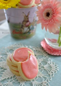 Slightly lemon flavored soft sugar cookies with fresh strawberry icing. These cookies will make a wonderful spring treat.