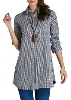 27.12$ Buy here - http://diykd.justgood.pw/go.php?t=167267 - Button Up Plaid Print Turndown Collar Curved Shirt