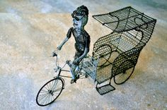 rykša Wire Art Sculpture, Bicycles, Recycling, Bicycle, Bike, Bicycling