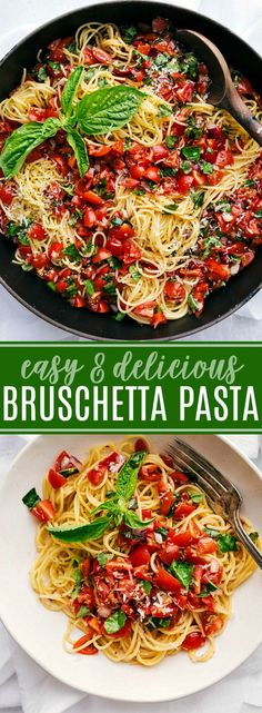 The BEST EVER Bruschetta Pasta! Bruschetta Pasta is fresh, light, and filled wit. The BEST EVER Bruschetta Pasta! Bruschetta Pasta is fresh, light, and filled with flavor via chelseasmessyapro. Healthy Pastas, Healthy Dinner Recipes, Pasta Recipes Easy Quick, Light Pasta Recipes, Lunch Recipes, Healthy Quick Dinners, Fast Easy Dinner, Cheap Recipes, Easter Recipes