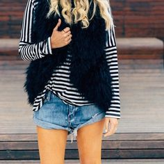 Stripes, jeans and faux fur