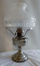 Aladdin Model No 12 Nickle Plated Oil Lamp with Shade