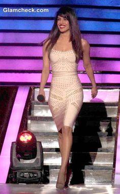 Priyanka Chopra in Beige Sheath Dress on Jhaak Dikhlaa Ja Season Finale 2013