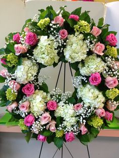 Wreath on easel. Green and white Hydrangea, Dark and light pink roses