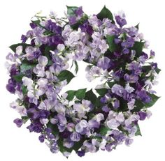 Allstate Floral 19-Inch Sweetpea Wreath, Purple/Lavender by Allstate Floral. $78.65. Purple/blue. Purple sweetpeas. Decorative wreath. Beautifully handcrafted sweetpea wreath in purple and lavendar colors ;nice for bathroom display; measures nineteen-inch.