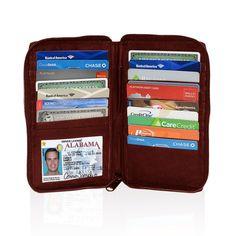 Deluxe RFID-Blocking Durable Genuine Leather Men's Credit Card Holder - Burgundy