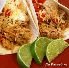 Cilantro Lime Chicken Tacos (crockpot style) - 1 lb. boneless skinless chicken breasts, juice from 2 limes, 1/2 cup of cilantro, 1 packet of taco seasoning, 1 teas. dried onions, 1/2 cup of water. Put all ingredients into crock-pot. Cook on low all day, or set crock-pot to high and cook for four(ish) hours. Shred, stir well. Spoon into soft taco tortillas. Top with cheese, sour cream, salsa, and tomatoes.