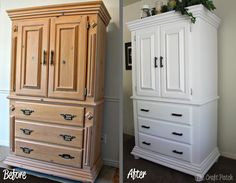 The Craft Patch: The Refinished Armoire (this is awesome! need to keep this in mind) Refurbished Furniture, Upcycled Furniture, Furniture Making, Painted Furniture, Diy Furniture, Painted Armoire, Furniture Stores, Armoire Makeover, Furniture Makeover