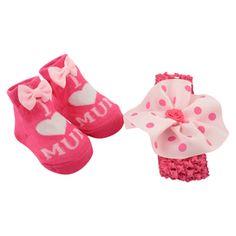 I heart Mum! Baby girl's sock and headband gift set (0-12 Months) £1.99