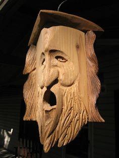 Love this birdhouse!  Hand Carved Cedar Birdhouse WOOD SPIRIT SHdown by Jorvic62 on Etsy, $35.00