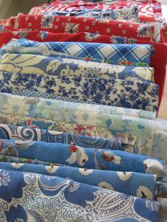 Feedsack Fabric Collection in red, white, and blue Vintage Textiles, Vintage Quilts, Vintage Sewing, Vintage Linen, Retro Fabric, Vintage Tablecloths, Feed Sacks, Linens And Lace, Fabulous Fabrics