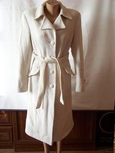 Белое итальянское пальто со структурной тканью (WOOL & CASHMERE)