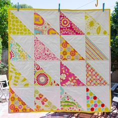Baby Quilt made with 16 giant half square triangles by Annemarie Bollman