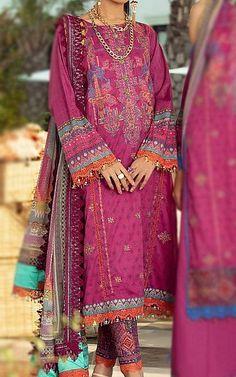 Magenta Lawn Suit   Buy Rang Rasiya Pakistani Dresses and Clothing online in USA, UK Pakistani Lawn Suits, Pakistani Dresses, Fashion Pants, Fashion Dresses, Rang Rasiya, Suits Online Shopping, Add Sleeves, Lawn Fabric, Pakistani Designers