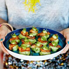 Vegansk mingelmat, ljuvliga snittar och plock | ICA Buffé Frisk, Meatless Monday, Veggie Recipes, Veggie Food, Finger Foods, Avocado Toast, Party Planning, Cucumber, Tapas