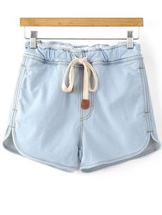 Drawstring Denim Shorts - LIGHT BLUE L
