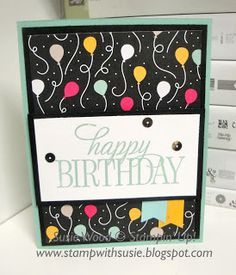 Stampin' Up!- I LOVE these balloons from the It's My Party Designer Series Paper Stack, along with the hostess set- 'Happy Birthday, Everyone'!