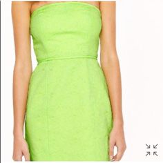 """SALE{J.Crew} Strapless matelassé dress Simple seaming accentuates the sleek silhouette of this summer-ready dress. From the French word matelasser, meaning """"to quilt,"""" the fabric was inspired by traditional handcrafted quilts from the south of France. An exposed back zipper adds just the right amount of edge. New condition. Never worn. Cotton. Boning at strapless bodice. Exposed back zip. Gripper tape along top edge. Lined. Fitted silhouette. (reviews says runs small , would fit better…"""