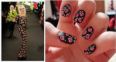 Nail art: Betsey Johnson Fall 2011 Collection ~ Vintage roses in pink with black base.Very pretty!