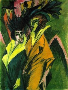 Ernst Ludwig Kirchner - Two women in the street - 1914      Ernst Ludwig Kirchner,  - Two women in the street - 1914