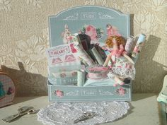 Dollhouse Tilda Quilting Display (Ref-1) . 1:12 miniature Tilda collection for Dollhouses.