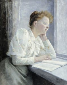 .:. Woman reading at the window (1893). Anna Sahlstén (Finland, 1859-1931)