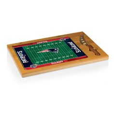"""Icon - Natural Wood $55.95 (New England Patriots) Digital Print - New England Patriots - NFL - Licensed Products. Rubberwood; bamboo; stainless steel DIMENSIONS: 15.2"""" x 10"""" x 0.8"""""""