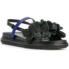 Marni Floral Fussbett sandals (5,635 CNY) ❤ liked on Polyvore featuring shoes, sandals, open toe sandals, ankle tie sandals, ankle wrap sandals, leather shoes and open toe leather sandals