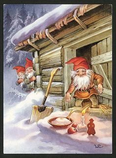 2020 Wall Calendar pages) Vintage Reprint Posters Christmas Gnomes Dwarves By Lars Carlsson Fantacy Illustration Ads Swedish Christmas, Christmas Gnome, Scandinavian Christmas, Christmas Buffet, Modern Christmas, Vintage Christmas Cards, Vintage Holiday, Illustrations, Illustration Art