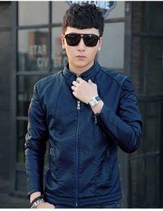 Áo khoác da nam lót lông cao cấp màu đen - A8638