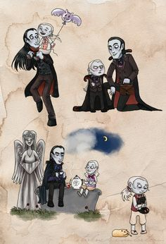 I don't really know how vampires work. Do vampire kids ever grow up? Anyway, I saw some cute von Krolock family art and figured to draw a couple of scenes from Herbert von Krolock's childhood mysel...